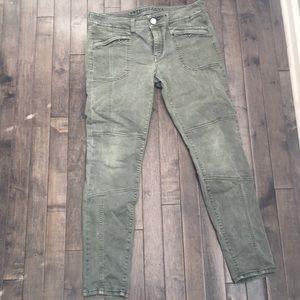 Olive moto pants